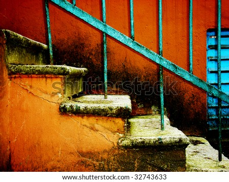 old stairway on vintage red - stock photo