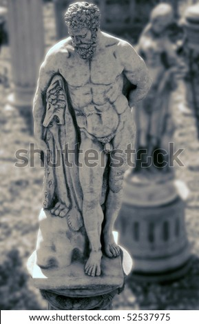 Old Statue Of Hercules Greek God Of Strength Stock Photo