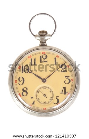 old style pocket watch, isolated on white