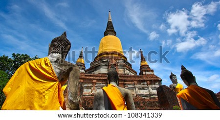 old Temple Wat Yai Chai Mongkhon of Ayuthaya Province Thailand
