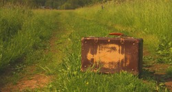 old vintage forgotten suitcase stands alone on a country road in a field on green grass during the summer