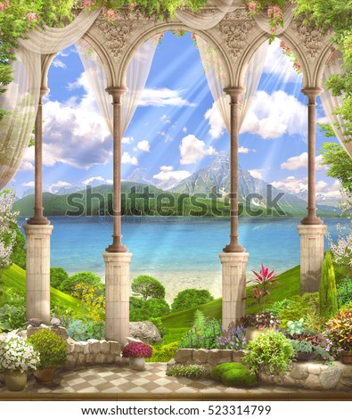 stock photo  old white arch with a view of the mountains and lake orange wisteria sunny day bright rays 523314799 - Каталог — Фотообои «Балконы, арки»