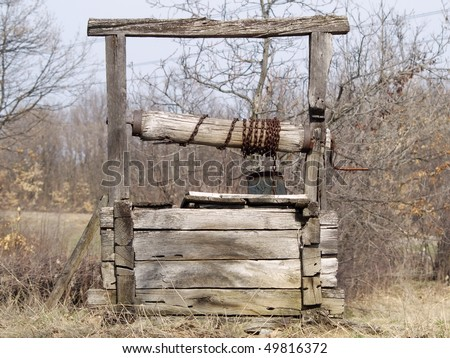 Photos of Old Water Wells http://www.shutterstock.com/pic-49816372/stock-photo--old-wooden-well-water-old-water-pump.html