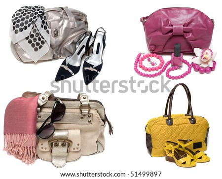 ?ollage from feminine bags, loafers and accessory insulated on white background. The Photography is formed from several pictures.