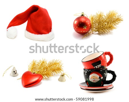 ?ollage hat Santa cristmas embellishment, golden branch and ctramic of the cup on white background. It Is formed from several pictures.