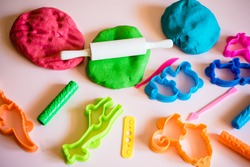 Сolorful clay. Homemade plastiline. Plasticine. play dough. Girl molding modeling clay. Homemade clay.