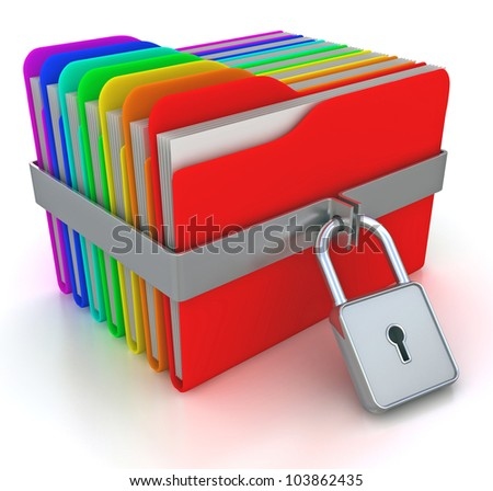 ?olorful computer folders with padlock. 3d image on a white