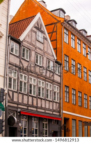Сolorful facades of ancient buildings in Copenhagen