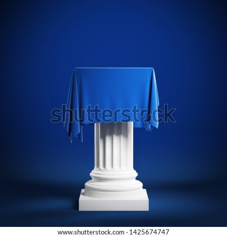 Сolumn covered with blue cloth. Isolated on a blue background with clipping path. 3d illustration Stockfoto ©