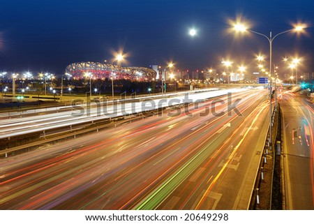 2008 Olympic Games National Stadium (Bird's Nest) and Night of Traffic in Beijing, China  -RAW Long  Exposure Photography