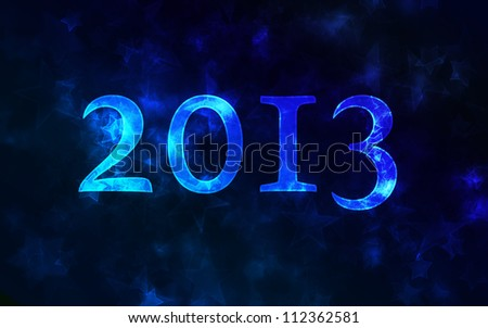 2013 on a dark blue blurred background with beautiful bokeh. New year greeting.