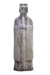 On a white background, Chinese ancient stone portrait