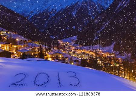 2013 on snow at mountains - Solden Austria - celebration background