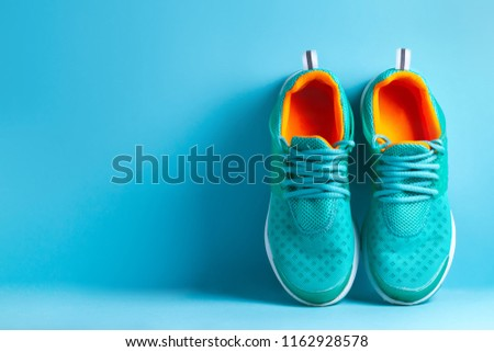 Сoncept of a healthy, sport lifestyle. Sport. Run. Sneakers. Water #1162928578