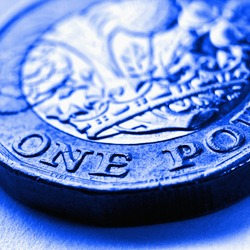 1 one British pound coin. Blue tinted square illustration about money and economy of Great Britain. Brexit. Focus is on denomination of coin and name of currency of UK. Macro