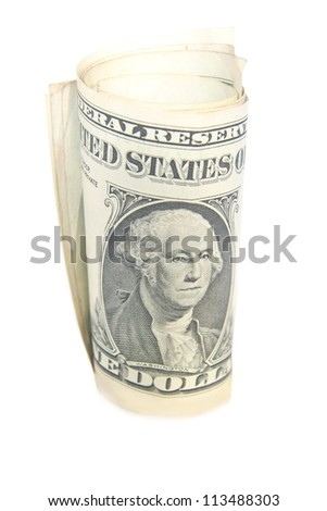 One dollar bill roll isolated