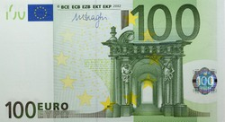 one hundred euro european union bill photographed close-up