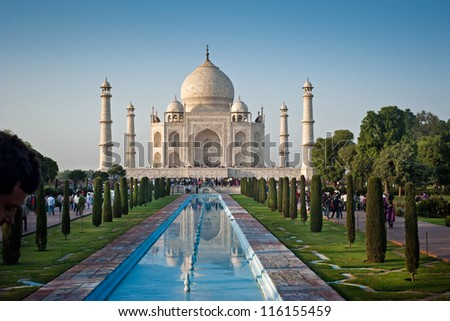 One of the seven wonders of the world - Taj Mahal mausoleum in evening light. Arga, India.