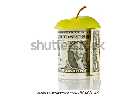 one USD bank note and an apple, isolated on white