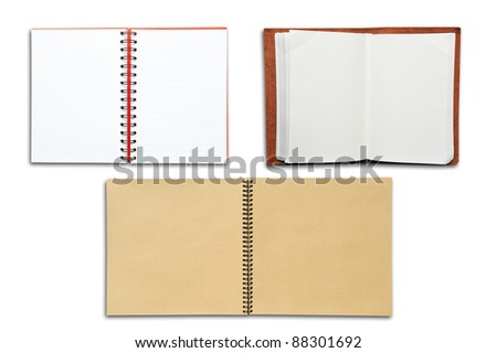 3 open blank books on white background