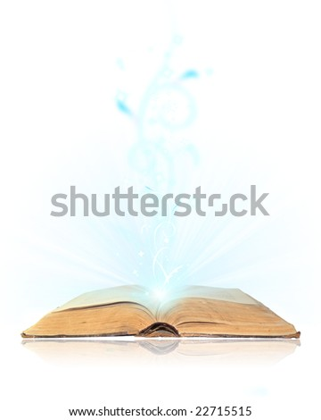 Open book magic on white - stock photo