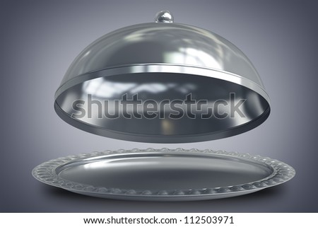 open empty metal silver platter or cloche with space to place object 3d render
