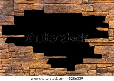 Opening in a brick wall, over black background.