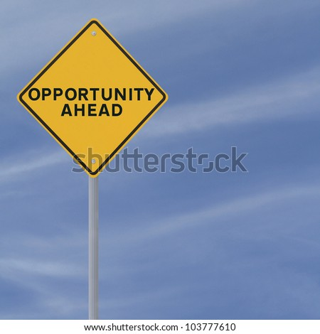 �Opportunity Ahead� road sign on a blue sky background (with copy space)