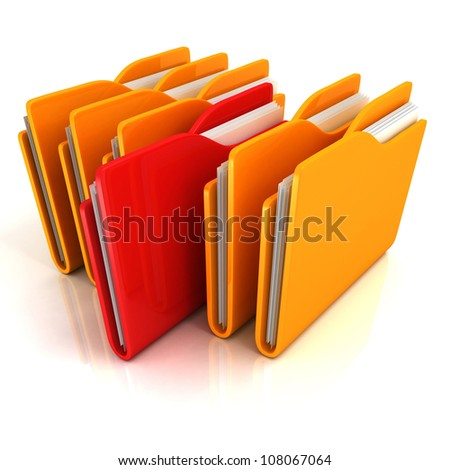 orange folders row with one red selected