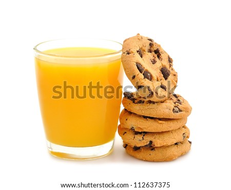 Orange juice and cookies on a white background