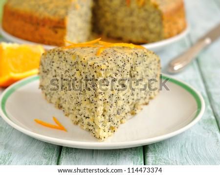 Orange pie with poppy seeds