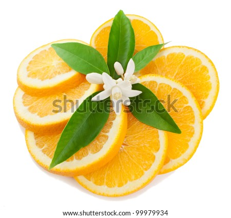 Orange with a flower and leaves Isolated on a white background.