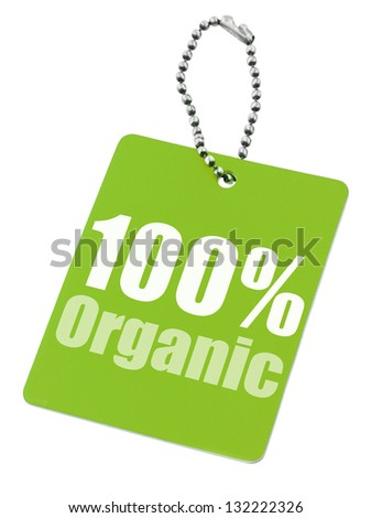 100% organic label isolated on pure white background