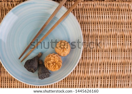 oriental composition with chopsticks on bamboo #1445626160