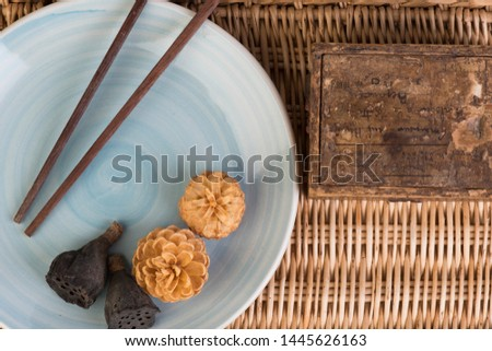oriental composition with chopsticks on bamboo #1445626163