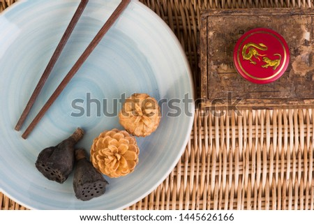 oriental composition with chopsticks on bamboo #1445626166