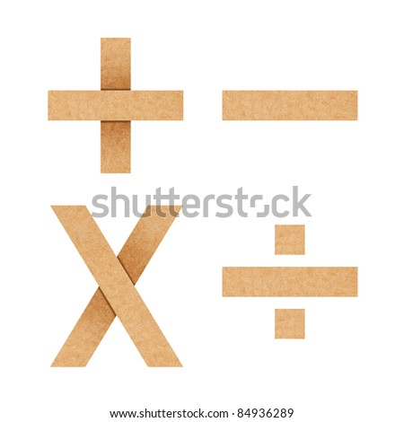 +,-,*,/ Origami alphabet letters from recycled paper with clipping path - stock photo