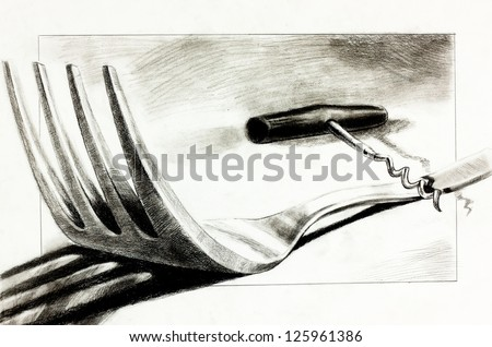 Original pencil  or drawing charcoal, and  hand drawn painting or  working  sketch of a fork and corkscrew.Free composition - stock photo