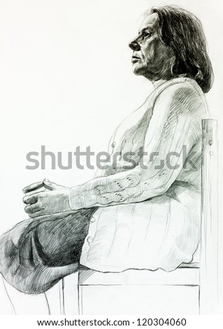 Original pencil  or drawing charcoal, and  hand drawn painting or  working  sketch of a woman sitting in a chair.Free composition