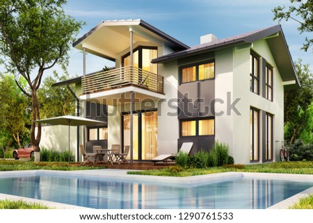 Сountry house with garage and large  swimming pool. 3D rendering