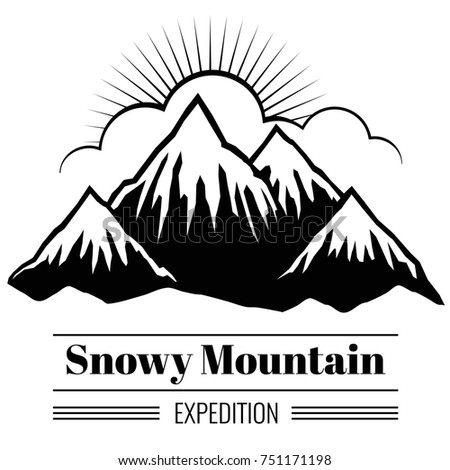 outdoor climbing and hiking backgrouns with mountain ranges and hills silhouettes. Banner with snow mountain, illustration of black mountain