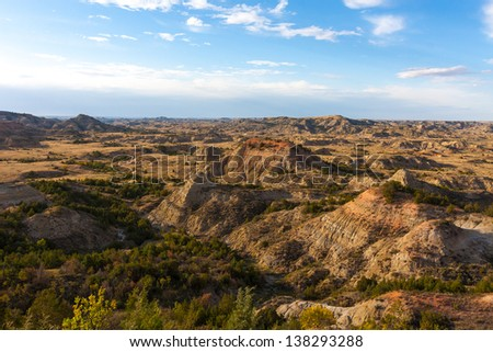 .Overlooking the badlands. - stock photo