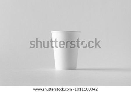 12 oz. white coffee paper cup mock-up without lid. #1011100342