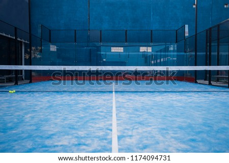 Paddle tennis blue court without people