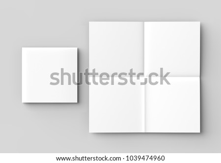 8 page leaflet - French fold right angle square brochure mock up isolated on soft gray background. 3D illustrating.