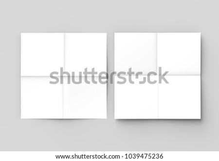 8 page leaflet french fold right angle square brochure mock up