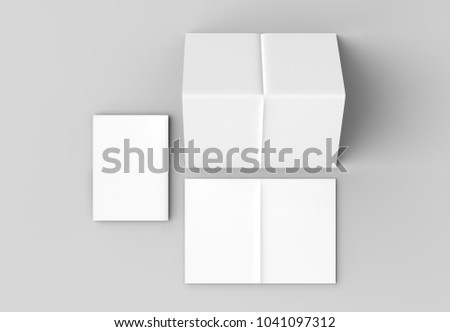 8 page leaflet french fold right angle vertical brochure mock up