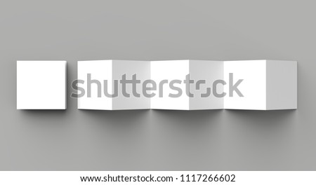 12 page leaflet, 6 panel accordion fold - Z fold square brochure mock up isolated on gray background. 3D illustration
