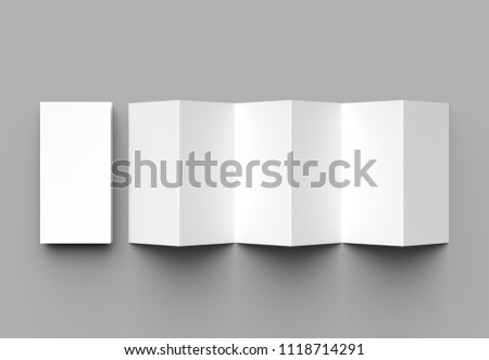 12 page leaflet, 6 panel accordion fold - Z fold vertical brochure mock up isolated on gray background. 3D illustration.
