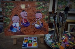 paint brushes, palette , decoration , Art painting oil color ,children playing From Thailand